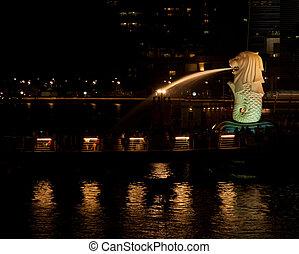 fuente, merlion, singapore., noche