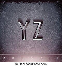 fuente, metal, vector, y, graba relieve, z