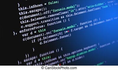 fuente, pantalla, código, programación, computadora
