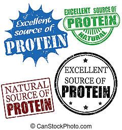fuente, proteína, sellos, excelente