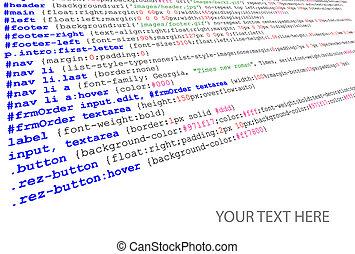 fuente, stylesheet, código, listado