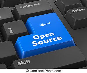 fuente, teclado, abierto, botón