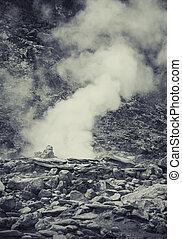 fuente termal, en, indonesio, vulcano, aerea