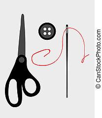 fuentes de costura, y, herramientas