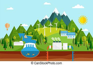 fuentes, ecológico, energía