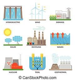 fuentes, energía, vector, illustration.