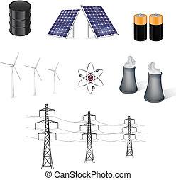 fuentes, energía, vector, vario