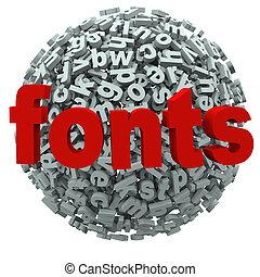 fuentes, palabra, tipografía, cartas, esfera
