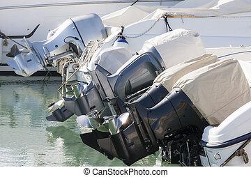 fuera de borda, motores, perfiles, vista