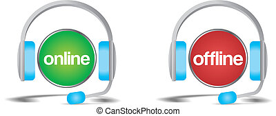 fuera de línea, apoyo, en línea, charla, ayuda