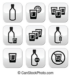 fuerte, alcohol, botones, conjunto, vodka