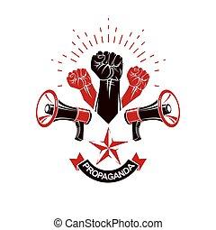 fuerte, derechos, loudhailers, hombre, gente, equipment.,...