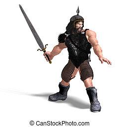 fuerte, enano, con, espada