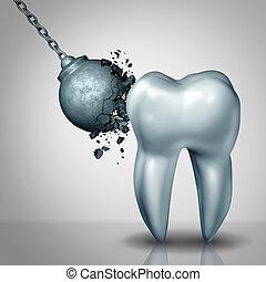 fuerte, esmalte, diente