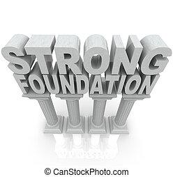 fuerte, fundación, palabras, en, granito, mármol, columnas