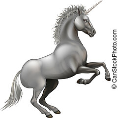 fuerte, ilustración, unicornio