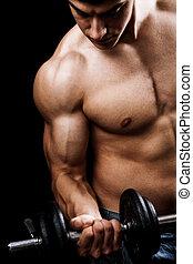 fuerte, pesas, muscular, elevación, hombre