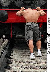 fuerte, shirtless, hombre, pushs, locomotora