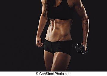 fuerte, y, complexión muscular, mujer, ejercitar, con, dumbbell
