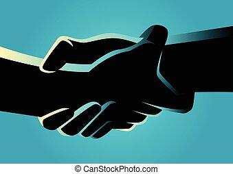 fuertemente, manos, dos, otro, tenencia, cada