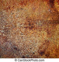 fuertemente, placa, metal oxidado