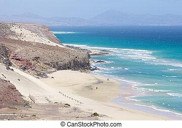 fuerteventura, costa, nombre, este, playa, mal, sur