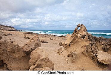 fuerteventura, ilhas canário, costa ocidental, de, jandia