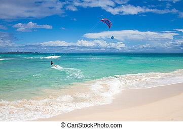 Fuerteventura, September 2012 - kitesurfers practice off the...