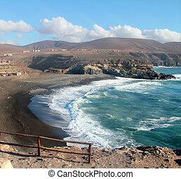 fuerteventura, spanyolország, ajuy, kanári, tengerpart, sziget