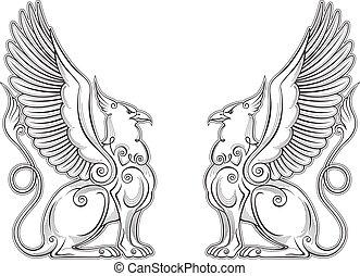 fuerza, águila, símbolo, vector, gryphon, cuerpo, alas, ...