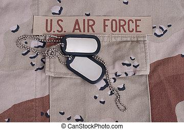 fuerza aérea eeuu, uniforme, con, perro, etiquetas