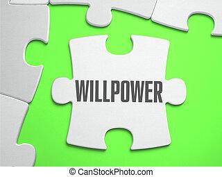 fuerza de voluntad, -, rompecabezas, con, perdido, pieces.