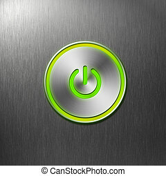 fuerza motriz verde, botón, en, frente, panel, de, computadora
