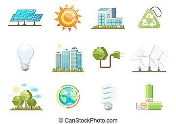 fuerza motriz verde, icons., eco, energía limpia, conjunto