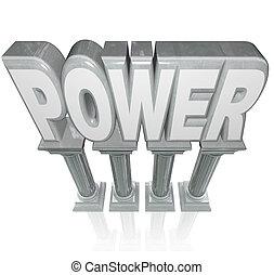 fuerza, palabra, potencia, fuerte, granito, mármol, columnas