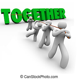 fuerza, palabra, puling, juntos, números, equipo, cartas, elevación, 3d
