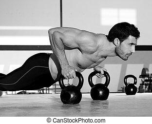 fuerza, tracción, pushup, hombre, gimnasio, kettlebell