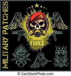 fuerzas especiales, remiendo, conjunto, -, acción, vector.