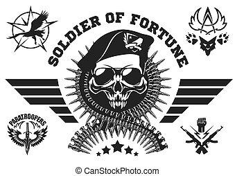 fuerzas especiales, vector, emblema, con, cráneo, munición,...
