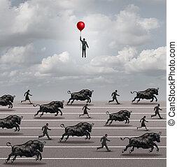 fuga, a, mercado touro
