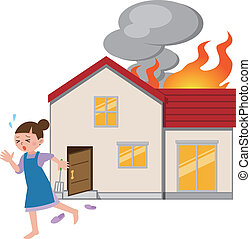 fuga, fogo, dona de casa