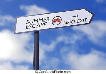fuga, tensão, verão, livre