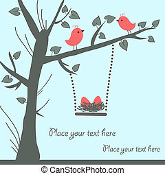 fugl, card, vektor