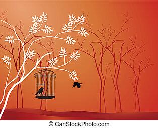 fugl flyve, silhuet, træ