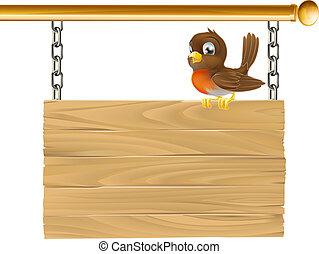 fugl, hængende, af træ, tegn