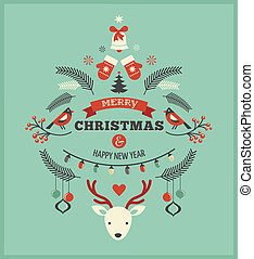 fugle, elementer, rådyr, konstruktion, bånd, jul