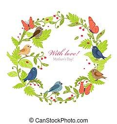 fugle, krans, morsom, blomstret konstruktion, din