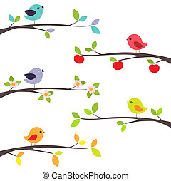 fugle, på, branches
