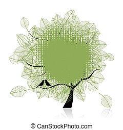 fugle, træ, tekst, din, kunst, sted, smukke