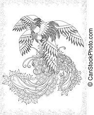 fugle, voksen, coloring, side